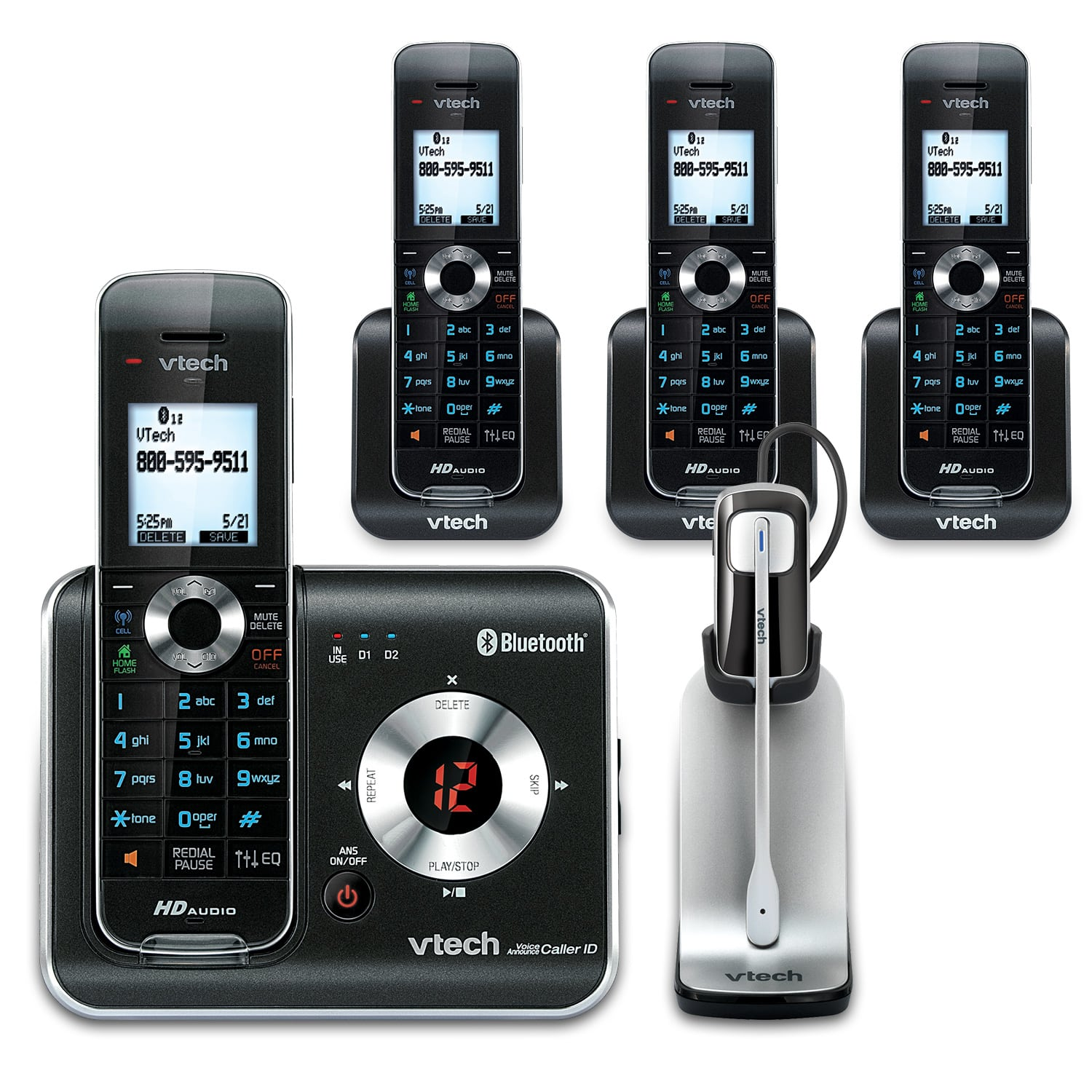 4 Handset Connect To Cell Phone System With Cordless Headset Ds6421 3 One Ds6401 One Is6200 Vtech Cordless Phones